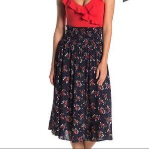 Floral Smocked Waist Midi Skirt